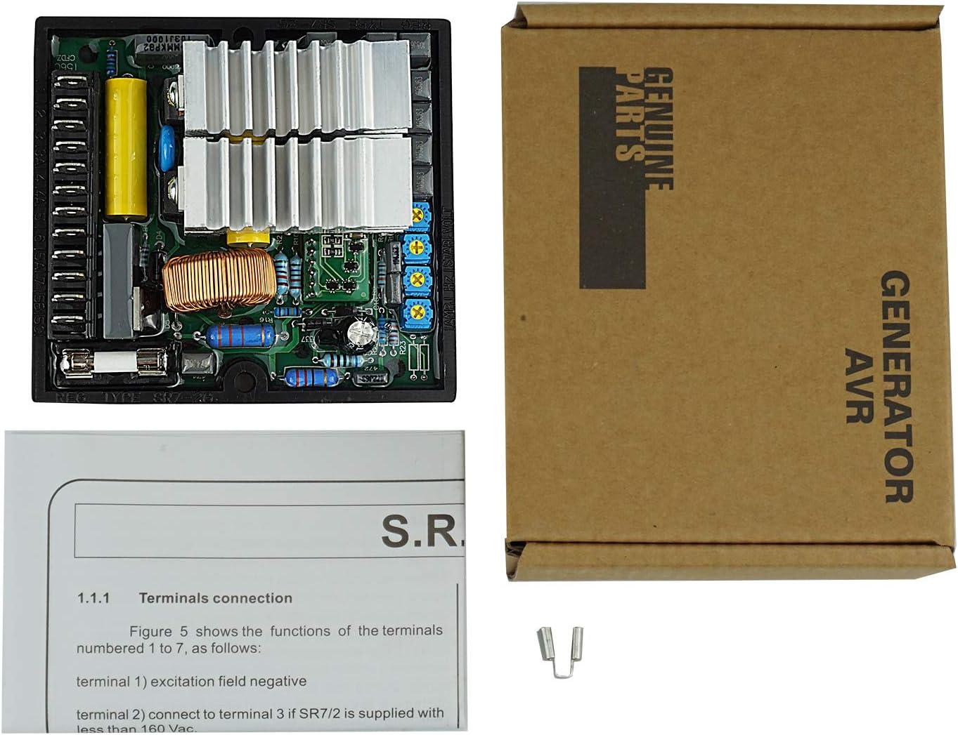 KKmoon Stabilizzatore Automatico di Tensione AVR SR7 per Generatore Blushless Sostituire per Mecc Alte AVR SR7 2G