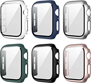 6 Pack Apple Watch Case with Tempered Glass Screen Protector for Apple Watch 42mm Series 3/2/1, Full Hard PC Ultra-Thin Scratch Resistant Bumper HD Protective Cover for iWatch Accessories