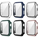 6 Pack Case compatible for Apple Watch 38mm Series 3/2/1 with Tempered Glass Screen Protector, Full Hard Cover Ultra-Thin Bum