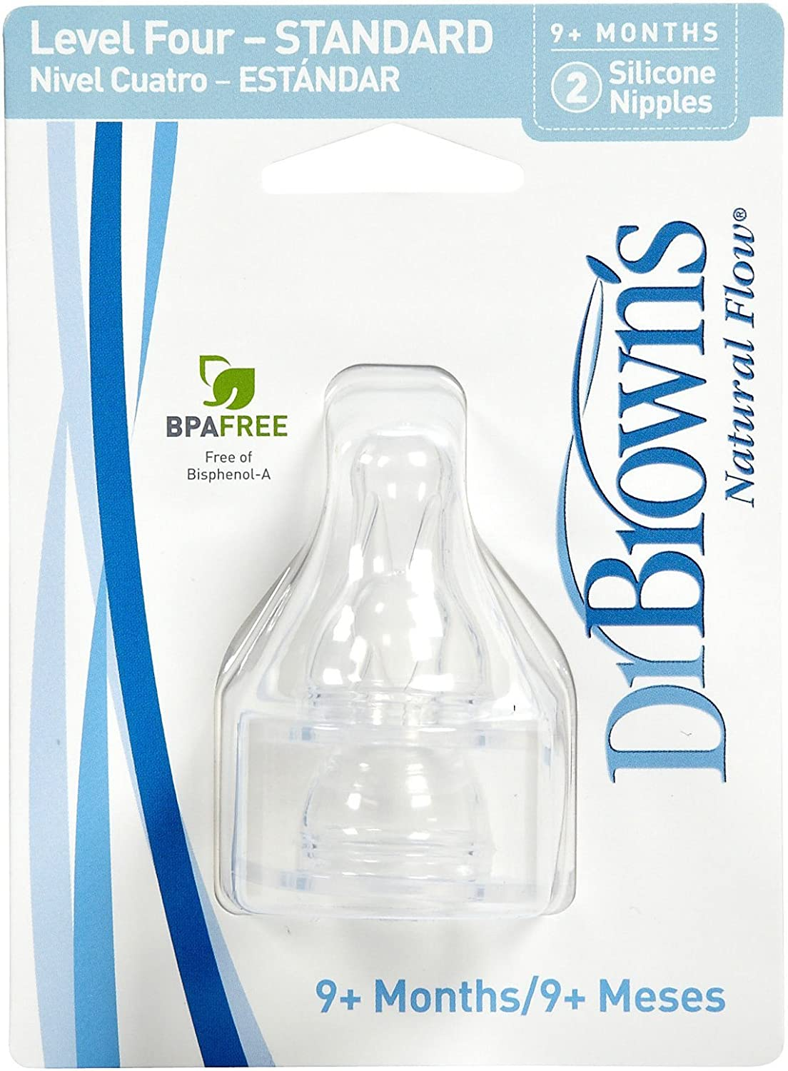Dr BrownS Natural Flow Standard Level 4 Silicon Nipples 9M+ 2 Pack