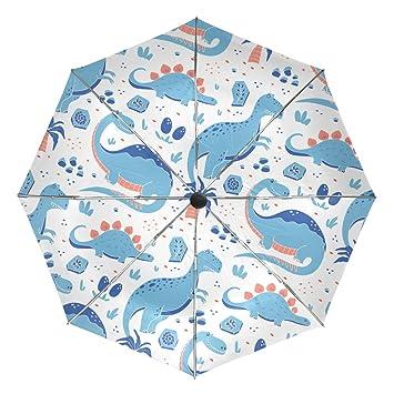 baihuishop vunny dinosaurios estilo de dibujos animados resistente al viento lluvia paraguas Auto abierto cerca 3