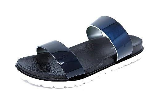 t*fd Damen Schuhe bequeme Sandalen Lack Sandaletten Metallic (8210)