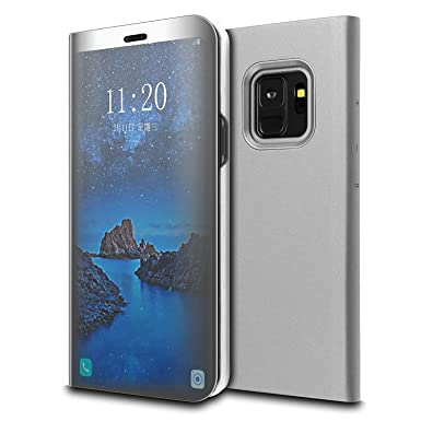 promo code 09b1e e2539 Samsung Galaxy S9 Plus Case - Smart Sleep/Wake Up Function S-View Wallet  Case Ultra Slim Translucent Mirror Smart View Cover Full Body Protective  Flip ...
