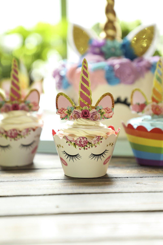 Unicorn Cake Topper with Eyelashes and Unicorn Cupcake Toppers & Wrappers - Unicorn Party Decoration Kit for Birthday, Baby Shower and Wedding by Hiware (Image #6)