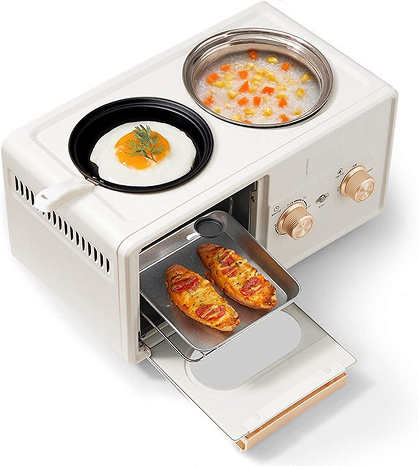 3-In-1 Breakfast Machine Oven,Household Multifunctional Cooking Machine Mini Toaster Oven,60-Minute Timer,1350W,Overheating Protection,Beige tiny ovensv XIEJING (Color : Beige)