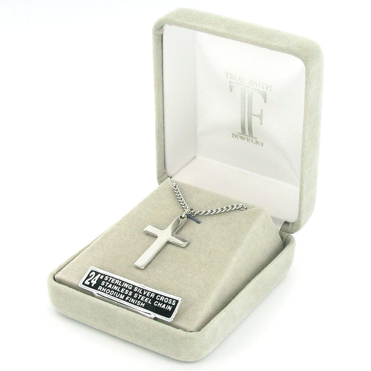 Amazon Sterling Silver Cross Pendant with Our Father Prayer