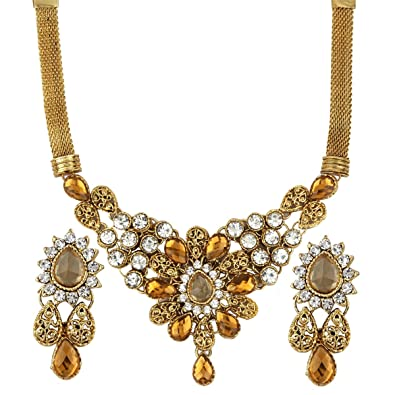 877ee42afce840 Fashion Jewels Exclusive Golden White Stylish Designer Gold Plated Necklace  Set for Girls, Women, ...
