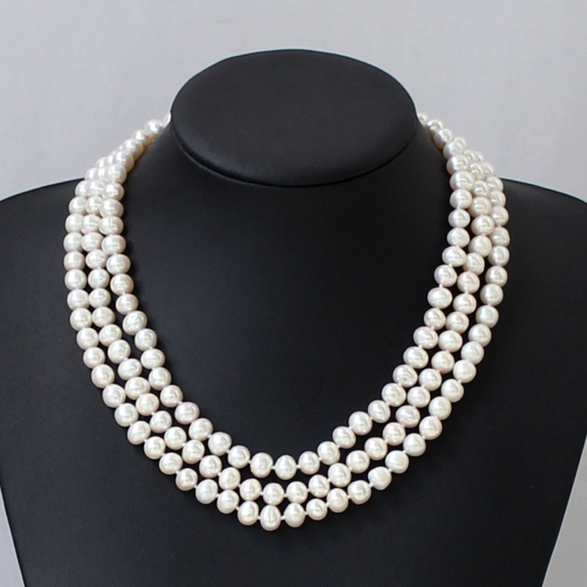 Handmade 3 Row AAA Round Freshwater Pearl Necklace Statement Necklace Wedding Necklace Mothers Gift, Bridesmaid Gifts