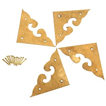 4Pcs 1.77u0026quot; Brass Flat Corners Bracket Cloud Decorative For Jewelry Box Cabinet  Decorative Furniture Hardware