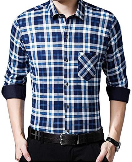 d7155f01127 Jotebriyo Men s Cotton Long Sleeve Fall   Winter Fleece Plaid Print Casual Flannel  Checkered Shirt 1