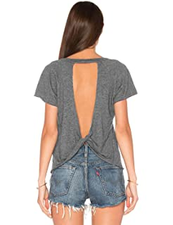 2588efa6bc1 Blooming Jelly Women s Sexy Backless Short Sleeve Top Back Knot Casual Shirt  Tee