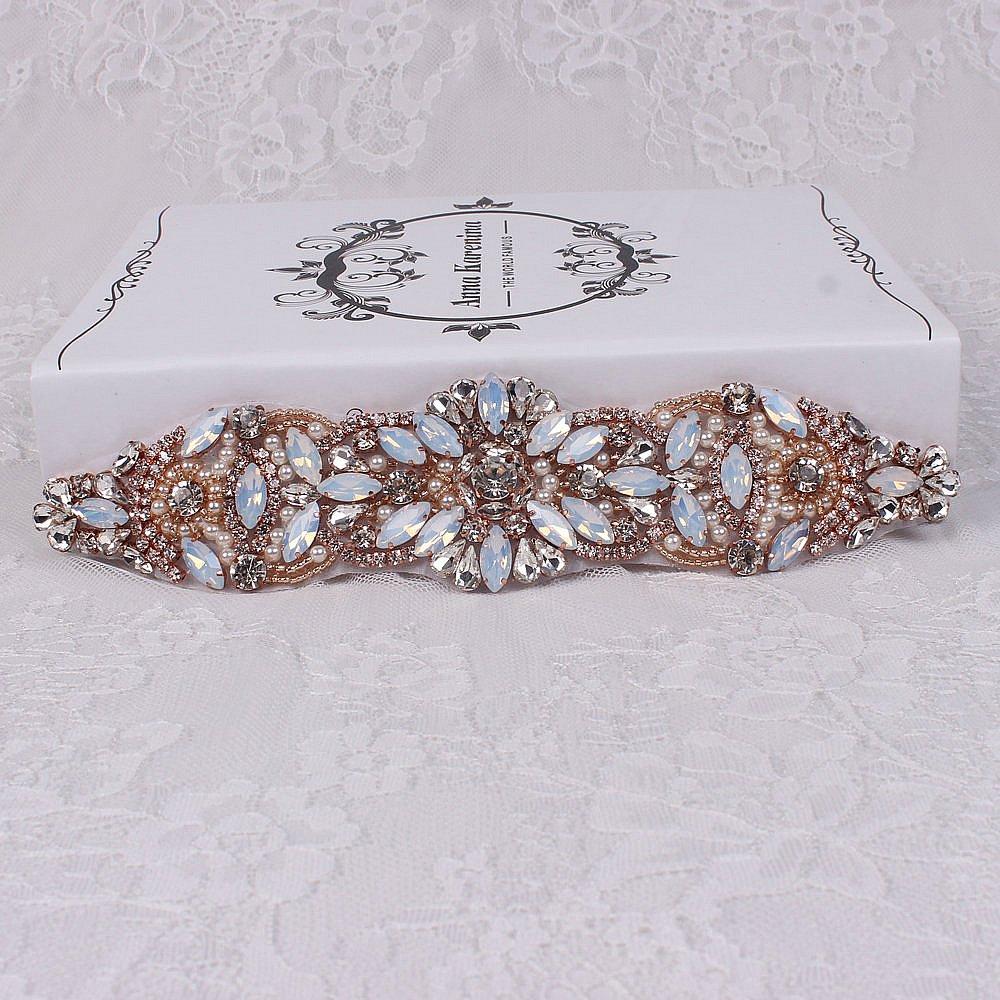 Handmade crystal bridal belt rhinestone pearl luxury wedding dress - Amazon Com Rose Gold Beadeds Opal Hand Made Shining Rhinestones Applique Diy Bridal Belts Headband Wedding Bridal Sash Or Belts