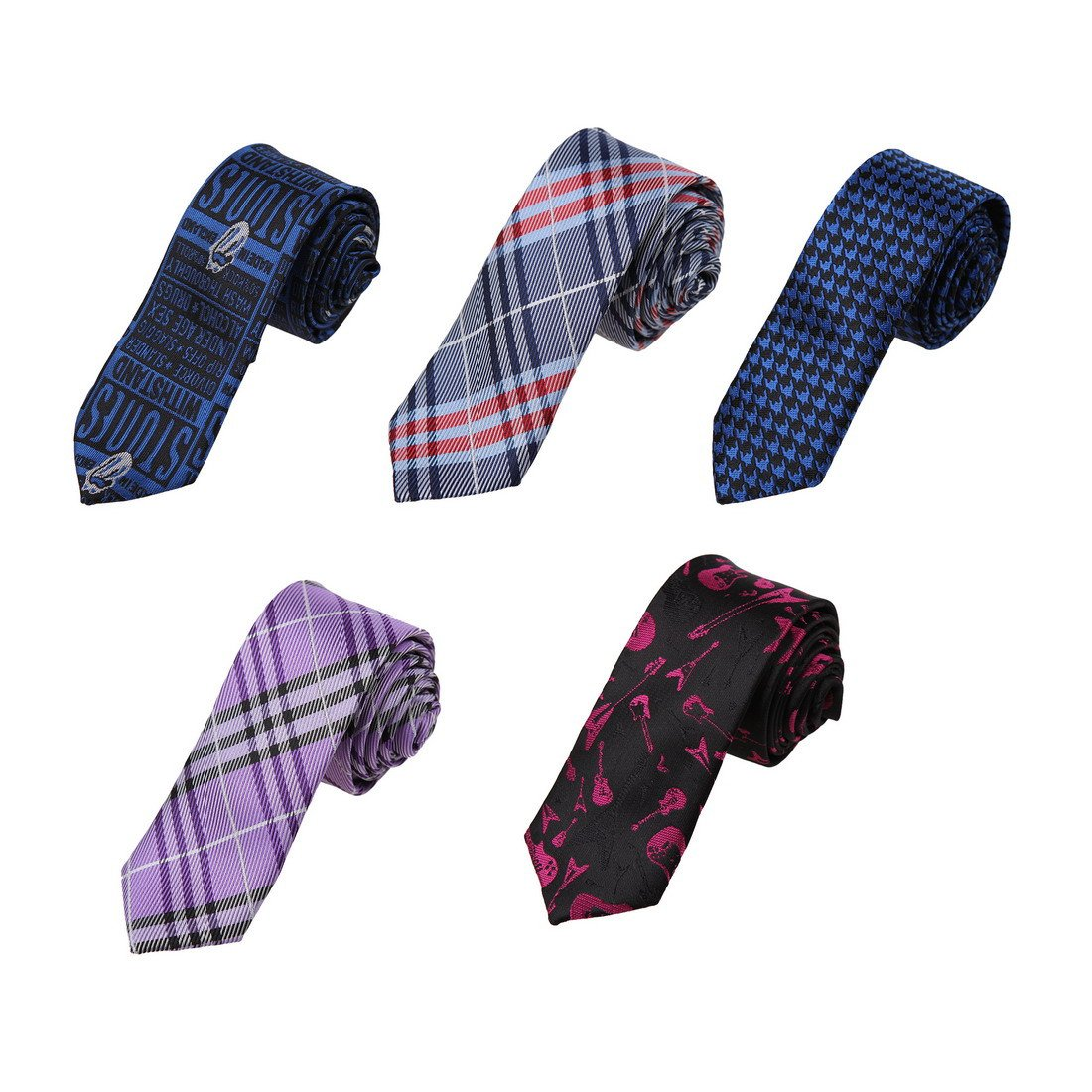 DANF0039 Series Colors 5cm-width Polyester Slim Ties Creative Fashion Skinny Ties - 5 Styles Available Inspire For Business By Dan Smith by Dan Smith (Image #1)
