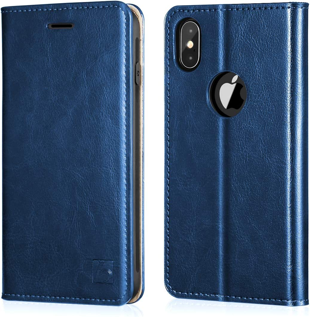 Belemay iPhone X Wallet Case, iPhone 10 Case, [Genuine Cowhide Leather Case] [RFID Blocking] Card Holder Slots Folio Book Flip Cover with Kickstand, Cash Pockets Compatible iPhone X/iPhone 10, Blue