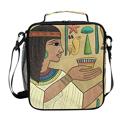 fd4266173f16 Amazon.com: DEYYA Vintage Ancient Egyptian Square Insulated Lunch ...