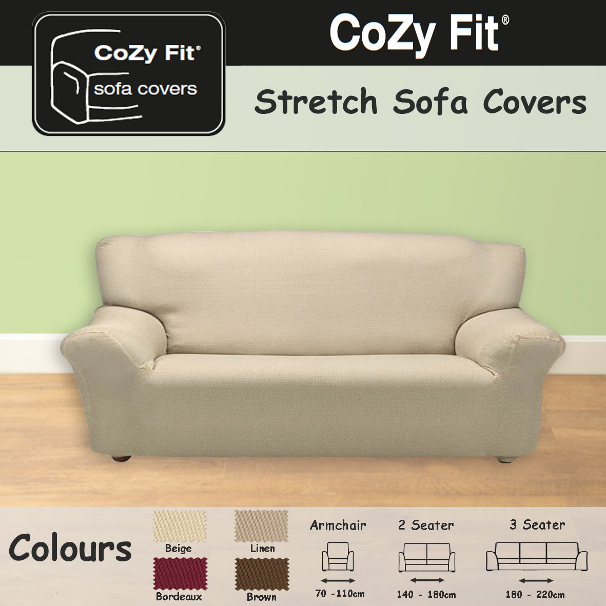 3 SEATER - Easy Stretch Elastic Fabric SOFA/SETTEE SLIP COVER Beige 'Sofa Huggers' by VICEROY BEDDING