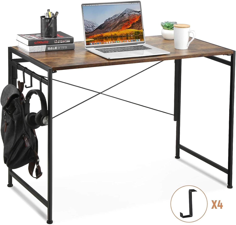 Vanspace Folding Computer Desk Writing Desk Office Desk with Hooks, Simple Study Desk Workstation PC Laptop Table for Home Office, Industrial Style Folding Desk, Easy Assembly, Vintage Brown