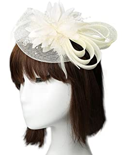 04dc0ecd Zaptex Fascinators for Women Brides Wedding Party Gauze Fascinator Hat  Headband Headdress