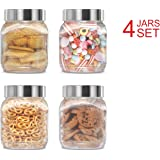 Plastic Jars Set; Milton Food Storage Containers Clear Square Lightweight PET Canisters; Airtight Lids Caps; 67 Oz 4-Pack