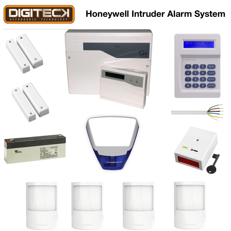 Honeywell Mejor hogar ladrón intrusión de alarma LCD teclado de marcación y botón de pánico, sensor PIR, puerta magnética contacto, todos los accesorios, personalizable, ideal para casas, pisos, garajes (uso doméstico)