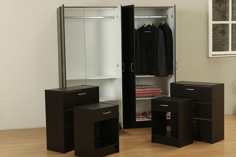 Dynamic24 6tlg Schlafzimmer Set Kleiderschrank Nachttisch Kommode