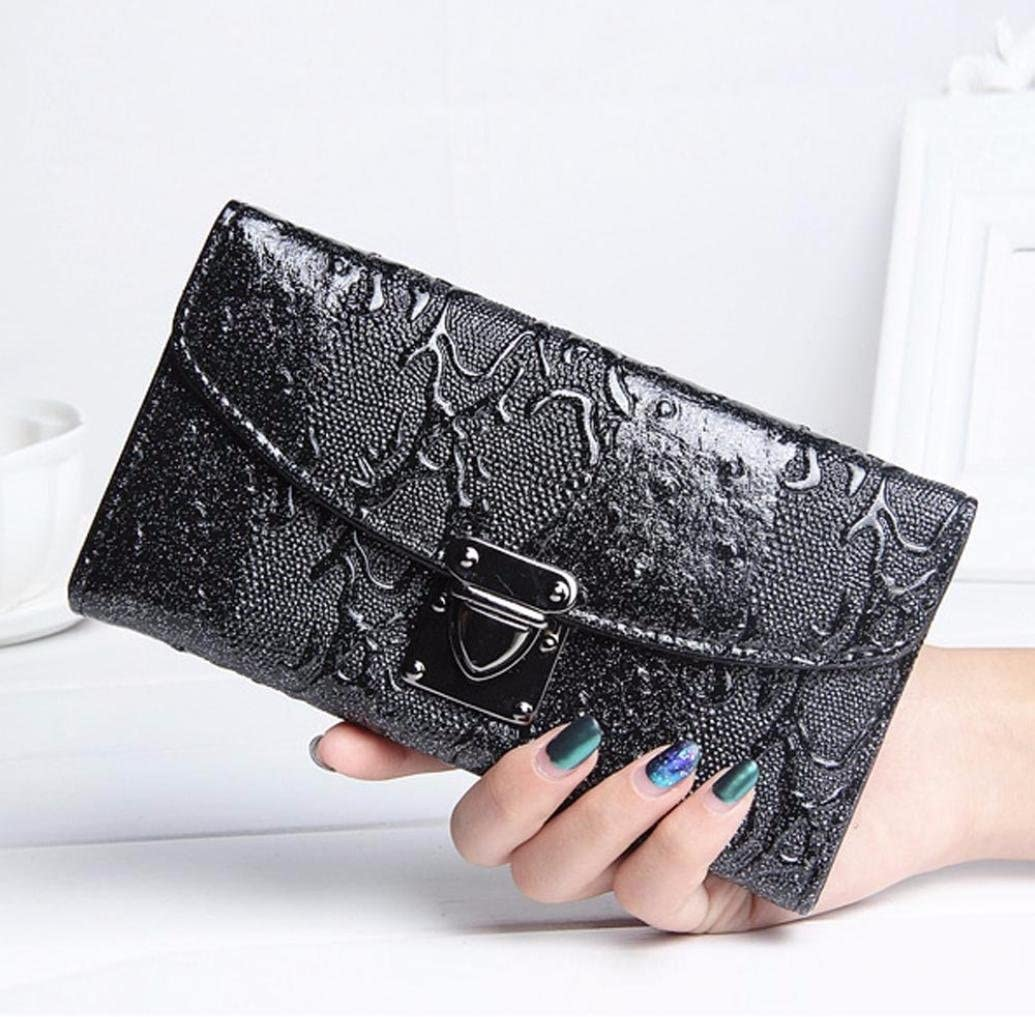 Womail Women Leather New Fashion Wallet Card Coin Holder Long Handbags Black