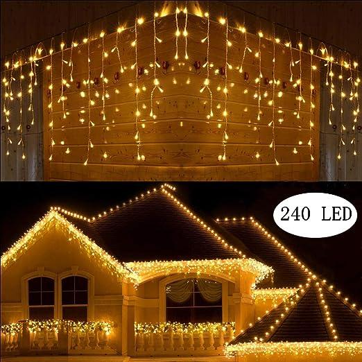 LED Eisregen Lichtervorhang Weihnachten Lichterkette Außen Innen Beleuchtung DE