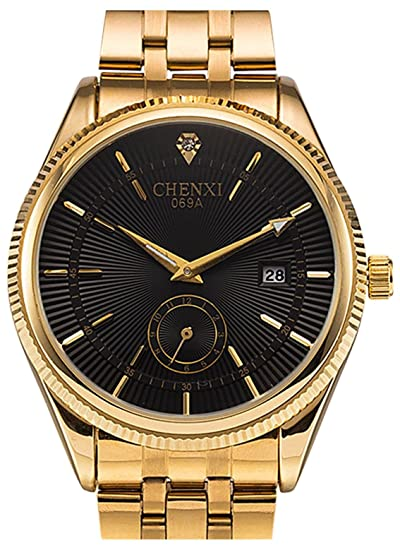 be09b3d41ce Fanmis Men s Luxury Analog Quartz Black Dial Gold Watch Business Stainless  Steel Band Dress Wrist Watch