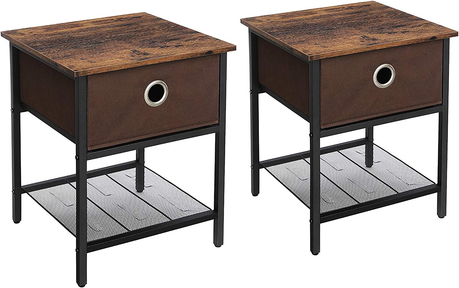 VASAGLE INDESTIC End, Nightstand Side Table with Steel Frame, Living Room Bedroom, Easy Assembly, 2-Pack, Rustic Brown, Black