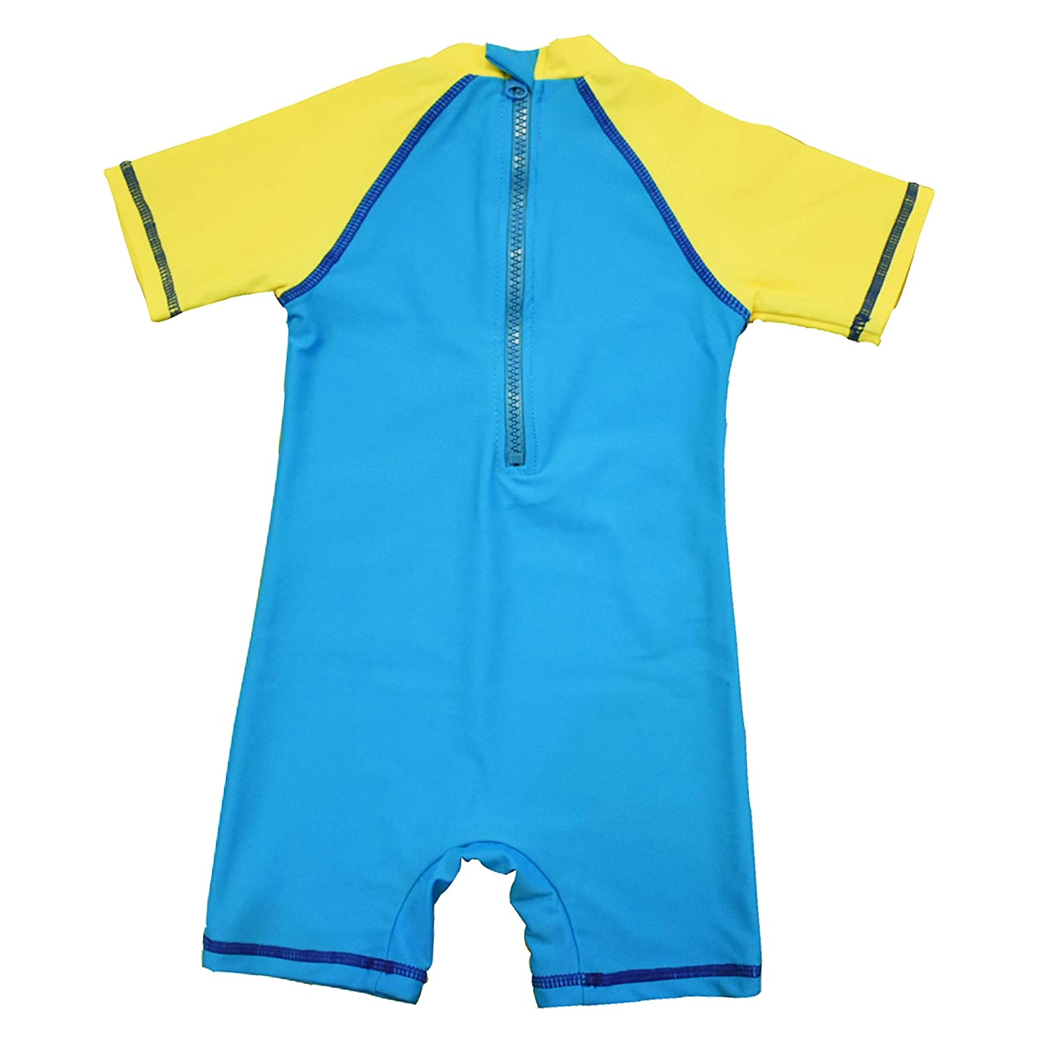 Yellow,24-36Months) Baby Girls Sunsuit UPF 50 Sun Protection One Pieces Short Sleeves Swimwear with Sun Hat