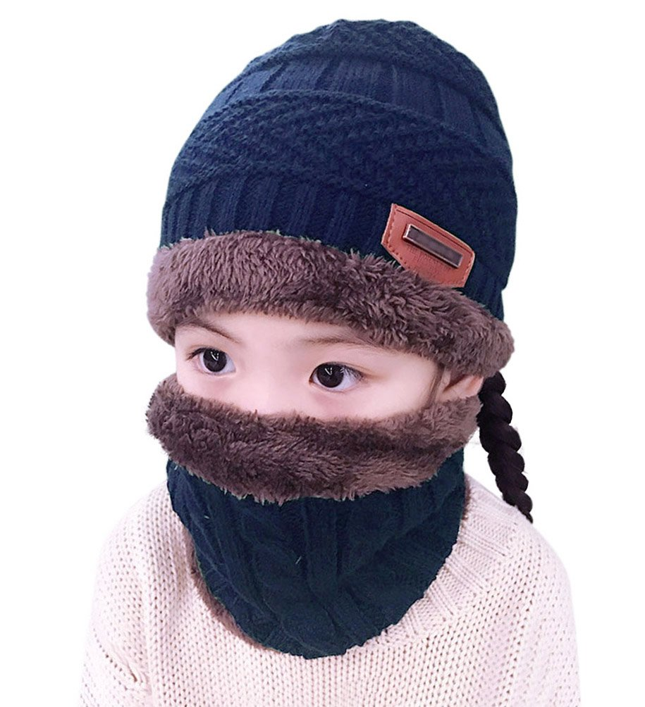 Winter Hats Scarf for Boys Girls (5-14 Years) Warm Snow Knit Beanie Windproof HINDAWI Circle Scarf Kids Slouchy Skull Cap Navy
