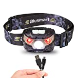 Head Torch, Blusmart Headlamp LED Rechargeable USB CREE Headlight Perfect for Running Walking Camping Reading Hiking DIY and More (USB Cable Included)