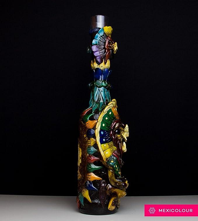 Tequila Bottle Mexican Obsidian Stone Shaman Warrior Aztec Mayan Calendar Shot