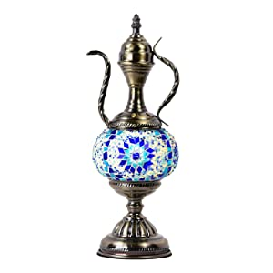 Marrakech Turkish Mosaic Glass Table Lamp Teapot Moroccan Lantern Decorative Tiffany Style Desk Night Light for Bedroom,Living Room, Coffee Table (Blue)