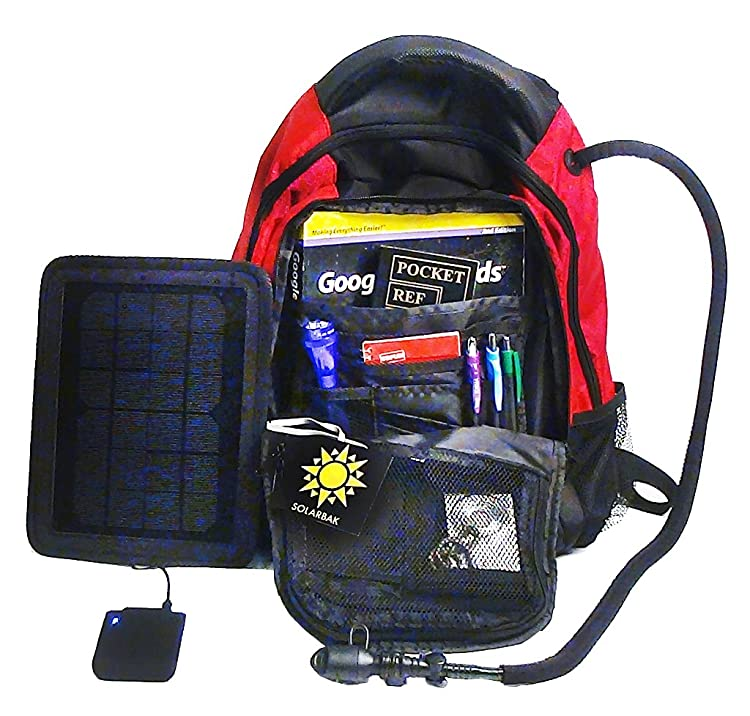 SolarGoPack solar powered backpack, charges mobile devices, Take Your Power with You, 12k mAh L-ion Battery, Black & Blue