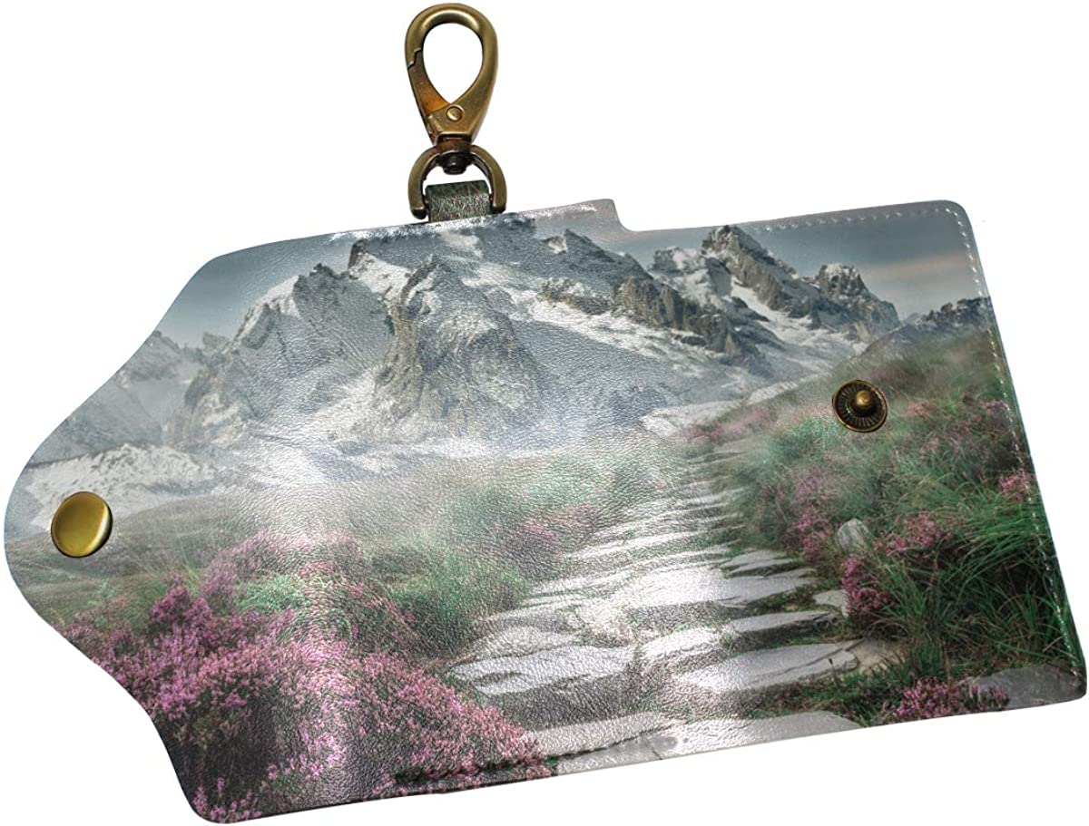 KEAKIA Mountain Landscape Leather Key Case Wallets Tri-fold Key Holder Keychains with 6 Hooks 2 Slot Snap Closure for Men Women