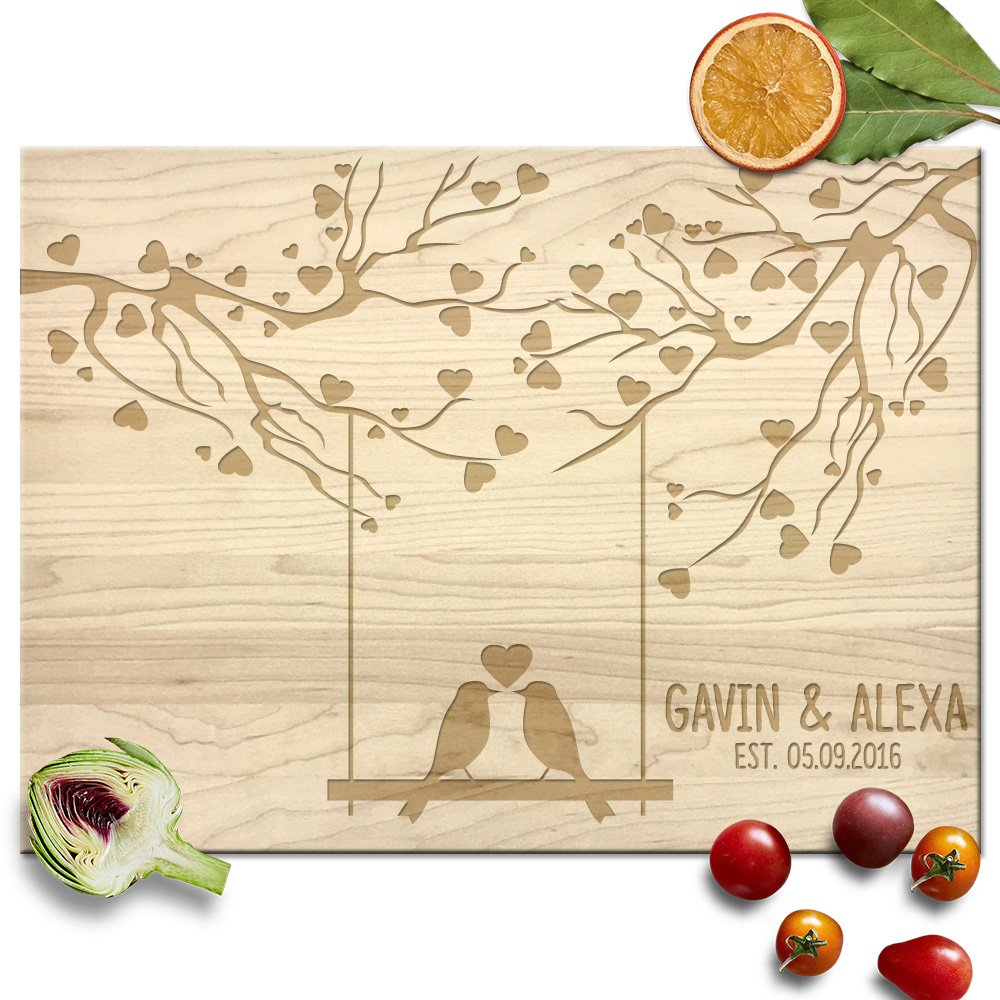 Froolu Love Birds Swing & Hearts Cute cutting board for New Couples Anniversary Gifts