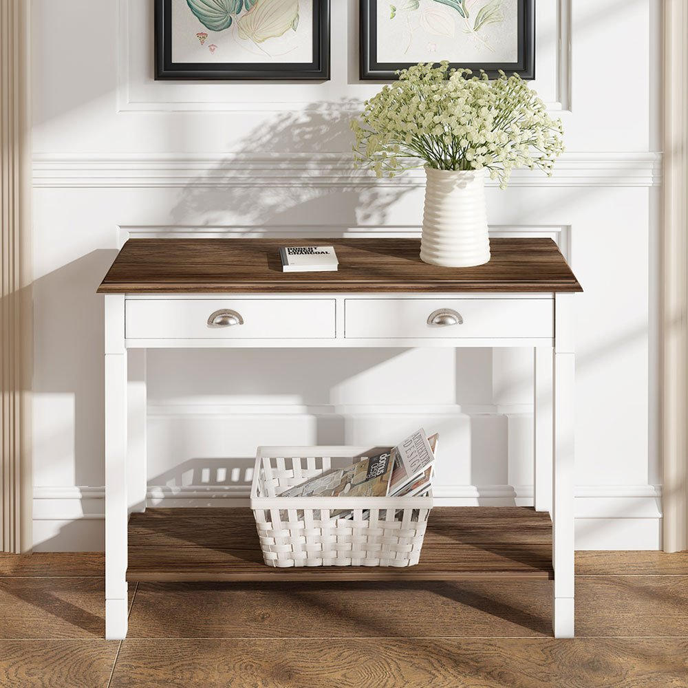Sofatbed Wooden 2 Drawer Console Table Side Cabinet with Shelf for Hallway Living Room Bedroom in White