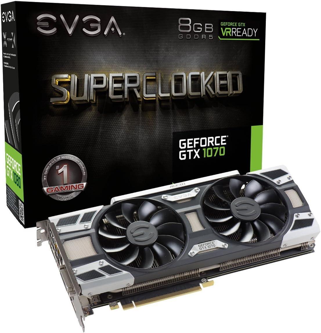 EVGA GeForce GTX 1070 SC GAMING ACX 3.0, 8GB GDDR5, LED, DX12 OSD Support (PXOC) Graphics Card 08G-P4-6173-KR (Renewed)