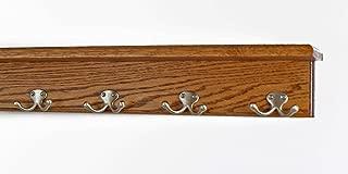"product image for Oak Shelf Coat Rack with Satin Nickel Double Style Hooks (Chestnut, 21"" with 4 hooks)"