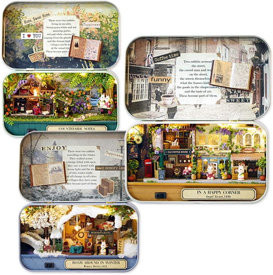 EisEyen DIY Dollhouse Miniature Kit Modellraum Kreativer Espacio con Muebles y Cover Handmade Navidad//cumplea/ños Idea Geschenkbox