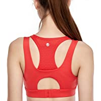 CRZ YOGA Women's Double Layer Wirefree Racerback Mesh Training Sports Bra with Pads