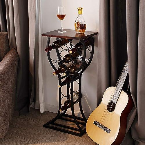 BENOSS Industrial Freestanding Wine Rack Holds 11 Bottle