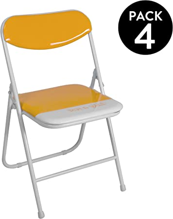 duehome (Candy) Pack 4 sillas Plegables Estructura metálica y PVC ...
