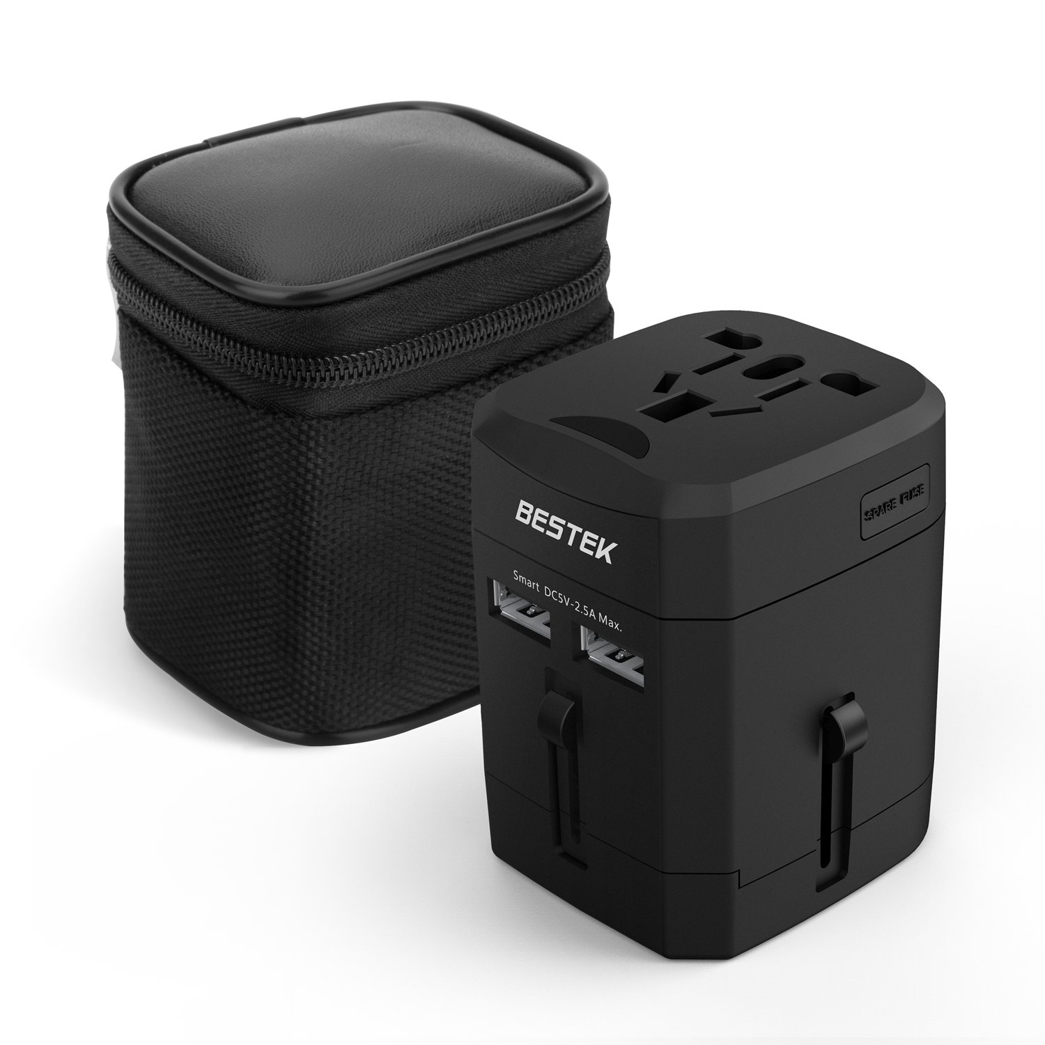 BESTEK Travel Adapter,  Universal All-in-One Travel Adapter with 2.5A Dual USB Ports for UK US AUS EU  Asia Covers 160 Countries
