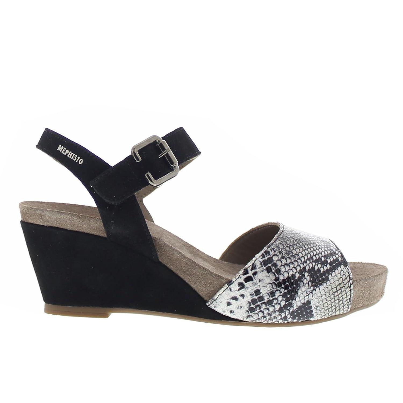 Mephisto Women's Beauty Wedge Sandal B01KYJG2VC 7 B(M) US|Black Velcalf Premium/Graphite Boa