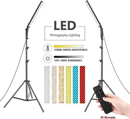 Neewer 2-Pack Luz Video 210 LED Bicolor Regulable Kit Iluminación Varilla Luz 21W 3200-5600K con Soporte y Control Remoto por Infrarrojos Filtros Color y Bolsa Transporte (Baterías No Incluidas): Amazon.es: Electrónica