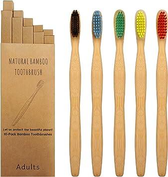 Bambus Zahnbürste Laelr 10er Holzzahnbürste Mittel Zahnbürste aus Holz Zahnbürsten Bamboo Toothbrush 100% BPA freie, Plastikfrei, Vegan,