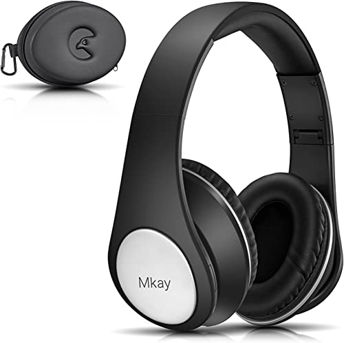 Over Ear Headphones, Mkay Bluetooth Wireless Headset V4.2 with Deep Bass Microphone Hi-Fi Stereo, Foldable Lightweight, 25H Playtime for Travel Work TV Computer iPhone-Black
