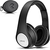 Bluetooth Headphones Over Ear, Mkay Hi-Fi Stereo Wireless Headset Bluetooth V4.2, Foldable with Mic, Wired and Wireless Headphones for Cell Phone/TV/ PC/Travelling